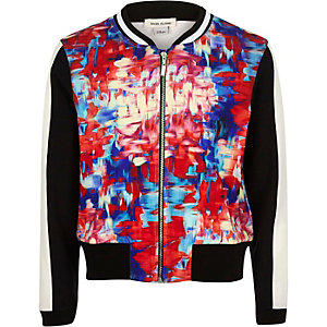 Girls pink print bomber jacket