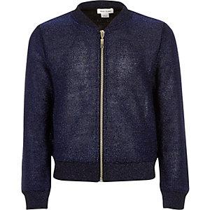 Girls navy knitted bomber jacket