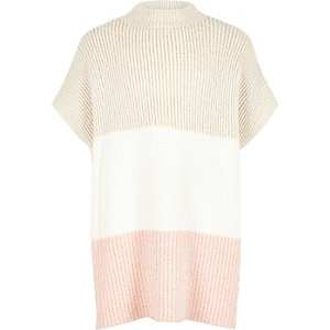 Girls cream color block poncho