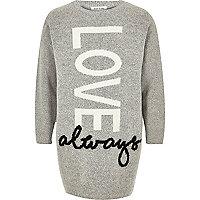 Girls grey Love print sweater dress