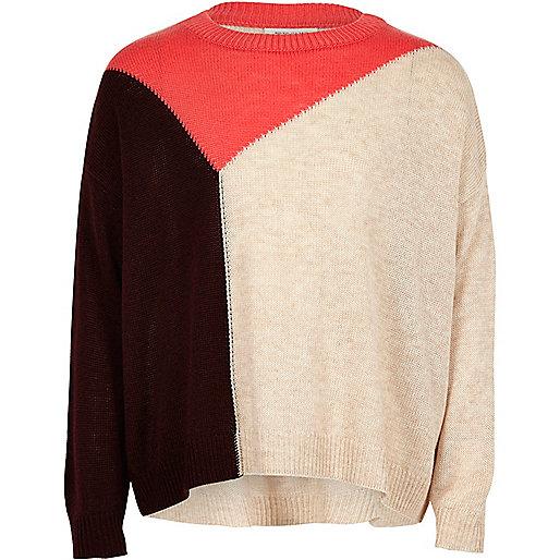 Girls pink block knit slouch jumper
