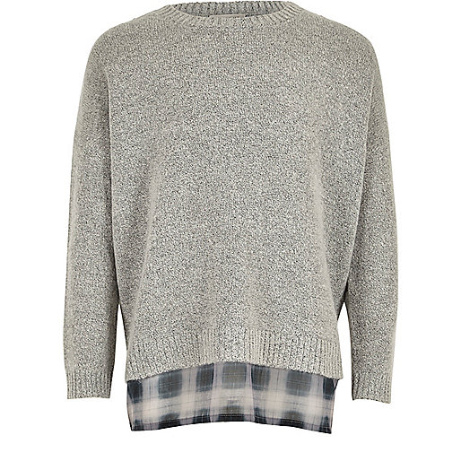 Girls grey double layer jumper