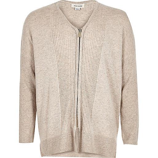 Girls cream knit zip cardigan