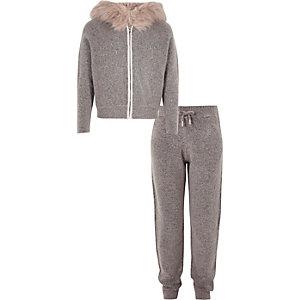 Set van grijze hoodie en joggingbroek voor meisjes