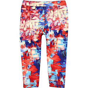 Mini girls red print leggings