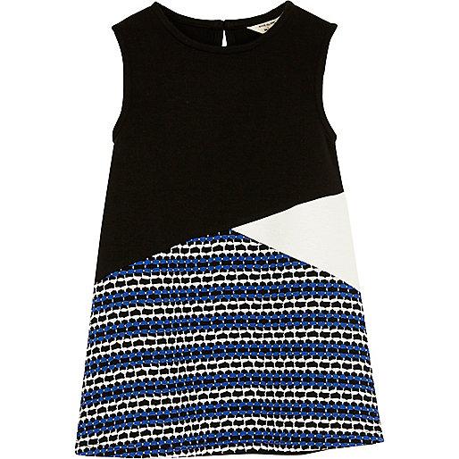 Mini girls black block panel shift dress