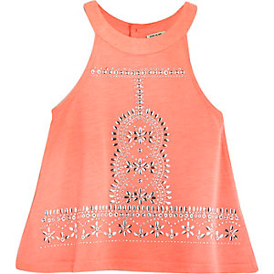 Mini girls coral embellished trapeze top