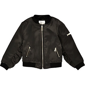 Mini girls black bomber jacket