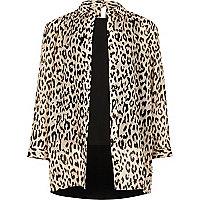 Girls cream animal print layered shirt
