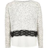 Girls grey lace panel jumper