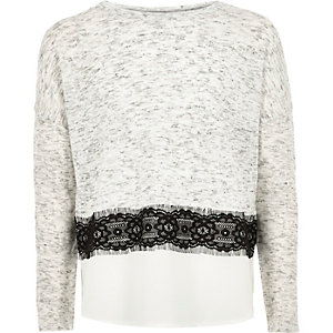 Girls grey lace panel sweater
