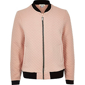 Girls pink quilted jacquard bomber jacket