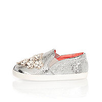 Mini girls silver embellished plimsolls
