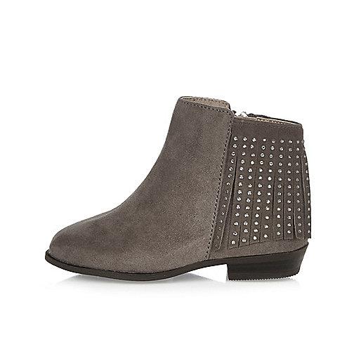 Mini girls grey embellished fringe boots