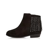 Mini girls black embellished fringe boots