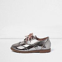 Chaussures richelieu argent métallisé mini fille