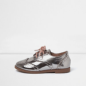 Mini girls metallic silver brogue
