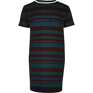 Girls red and blue stripe t-shirt dress