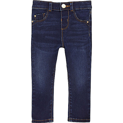 Mini girls blue wash skinny jeans