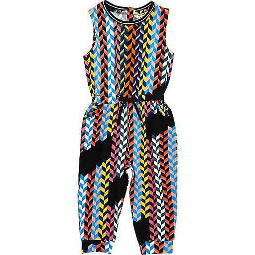 Mini girls multicoloured weave jumpsuit