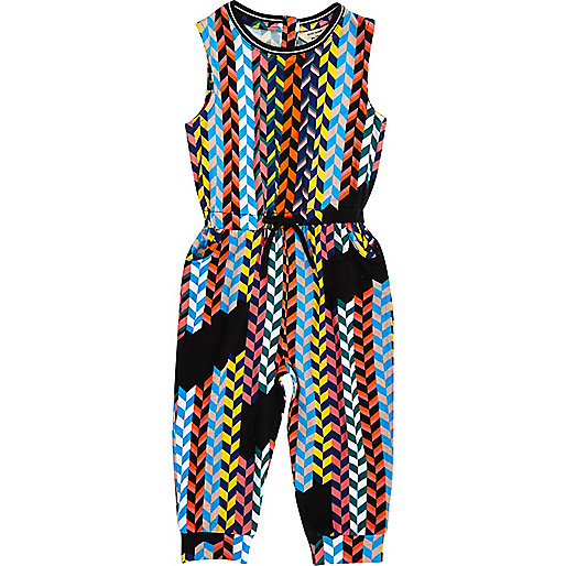 Mini girls multicolored weave jumpsuit