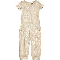 Mini girls oatmeal ribbed jumpsuit