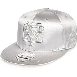 Girls silver metallic New York cap