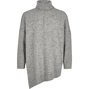 Girls grey knit asymmetric hem tunic
