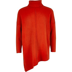 Girls orange knit asymmetric hem tunic