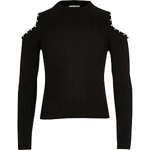 Girls black pearl trim cold shoulder top