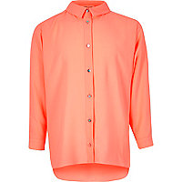 Girls coral oversized shirt