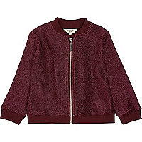 Mini girls burgundy lurex knit bomber jacket