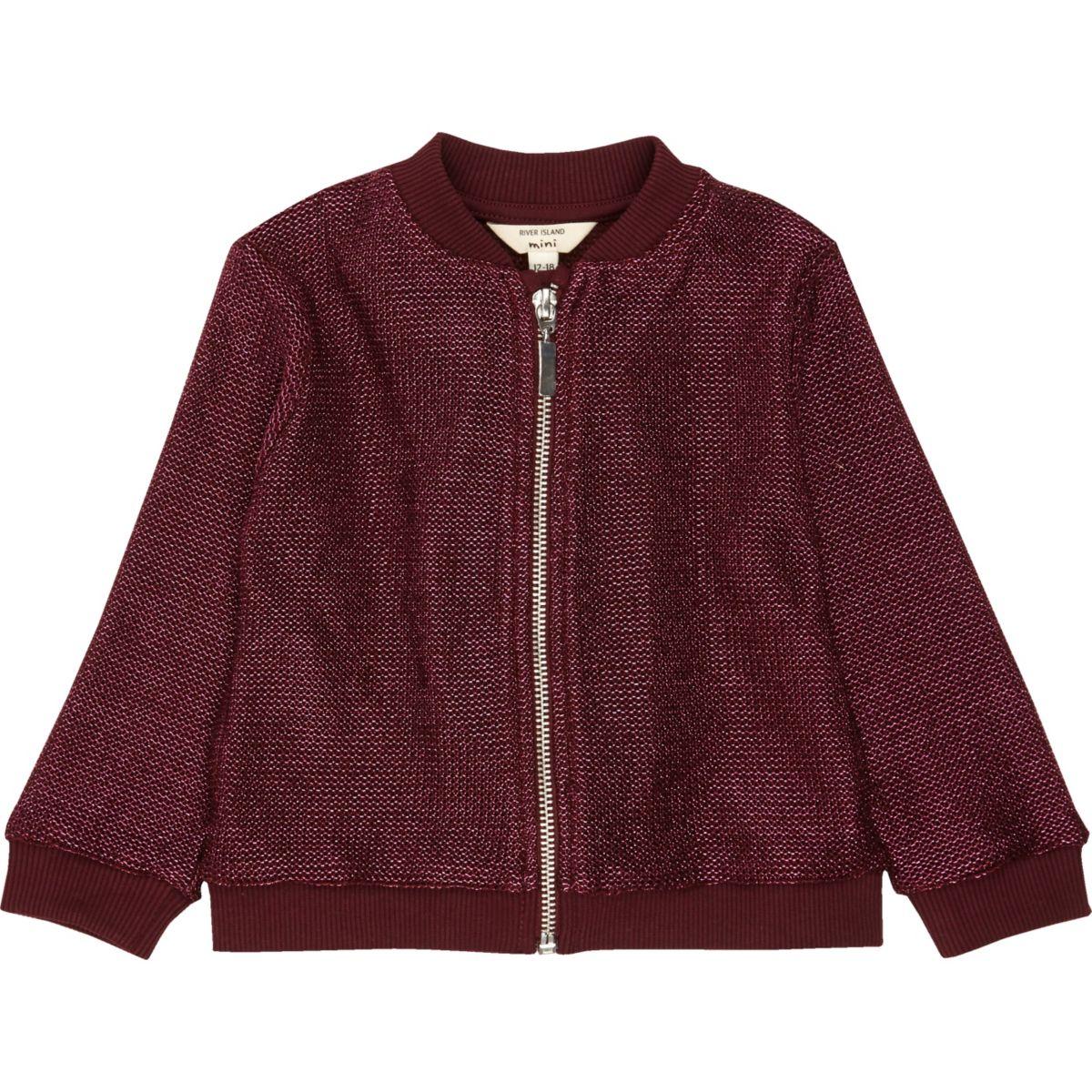 Mini girls burgundy lurex knit bomber jacket