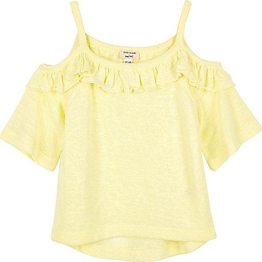 Haut jaune volanté à épaules dénudées mini fille