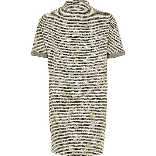 Girls grey stripe sweater dress
