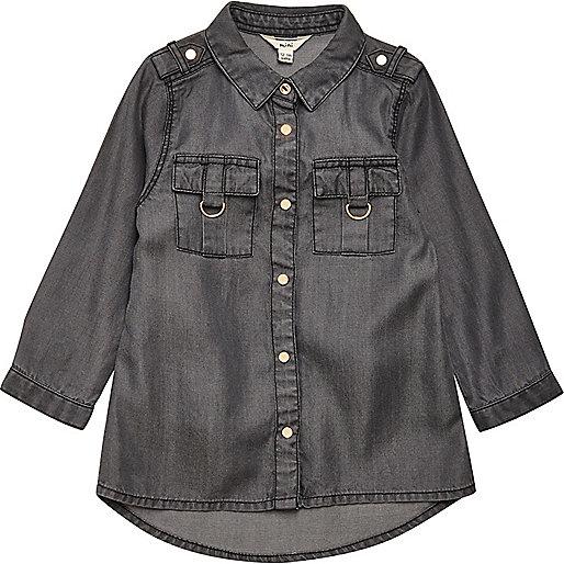 Mini girls grey tencel shirt