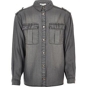 Girls grey wash oversized shirt