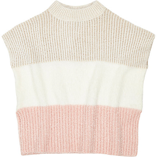 Mini girls pink ribbed block poncho