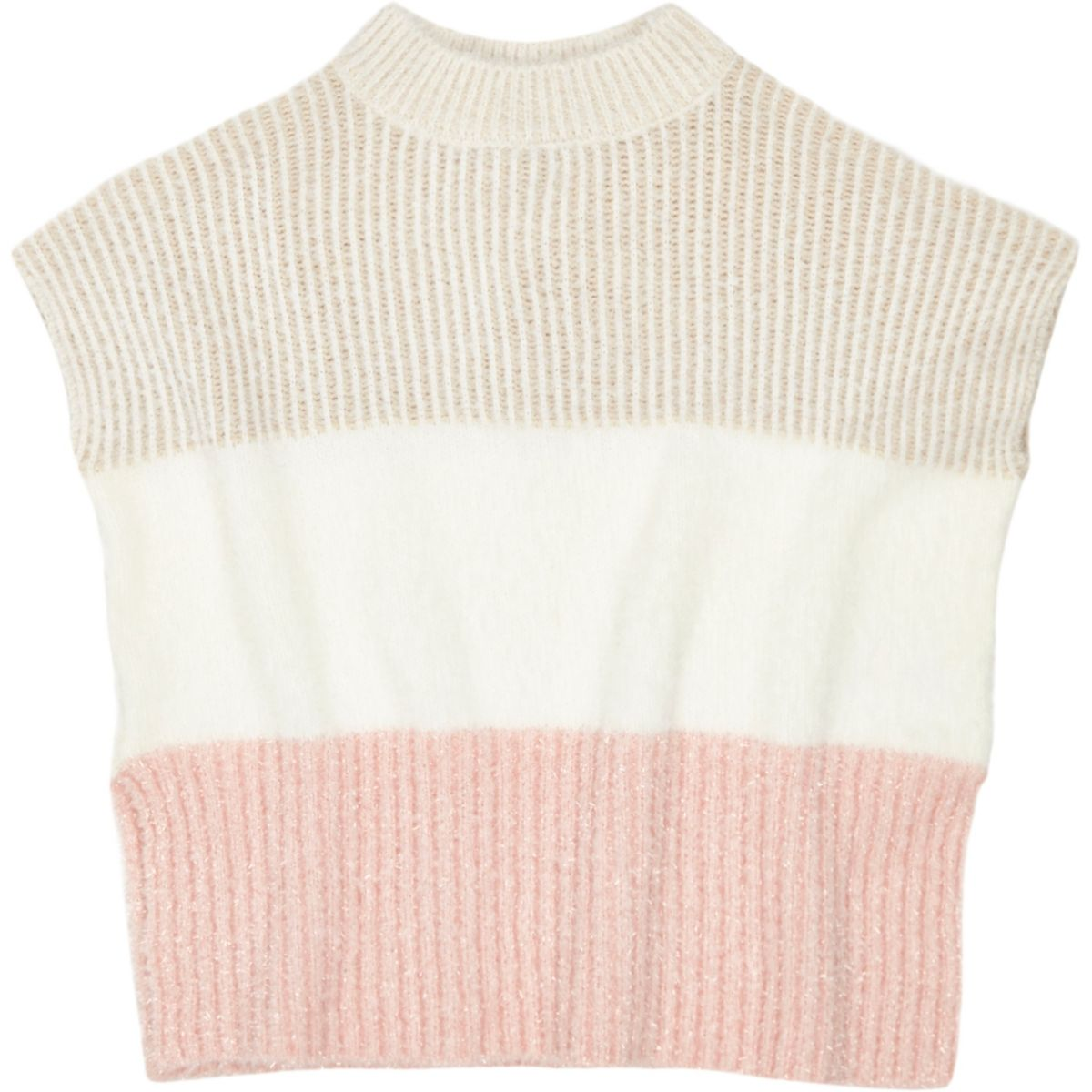 Mini girls pink ribbed block poncho