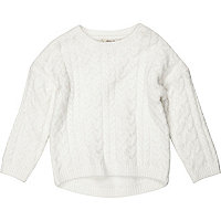 Mini girls cream cable knit Christmas sweater