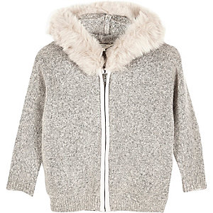 Mini girls grey furry jumper with faux fur