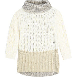 Mini girls cream roll neck jumper dress