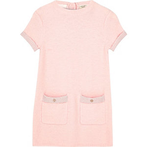 Girls pink fluffy knit shift dress