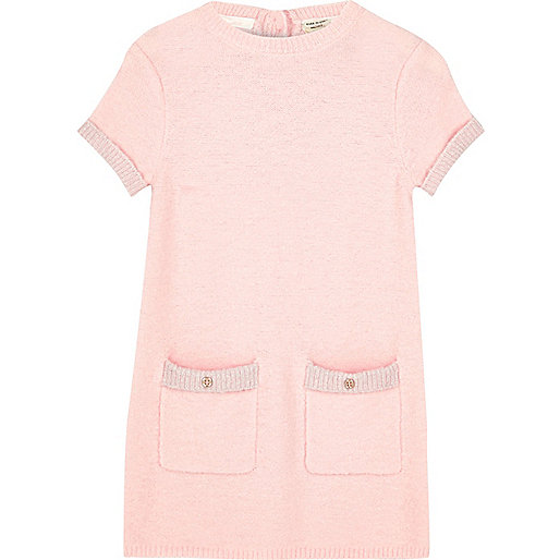 Girls pink fluffy knit shift dress