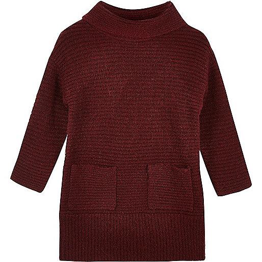 Mini girls burgundy roll neck sweater dress