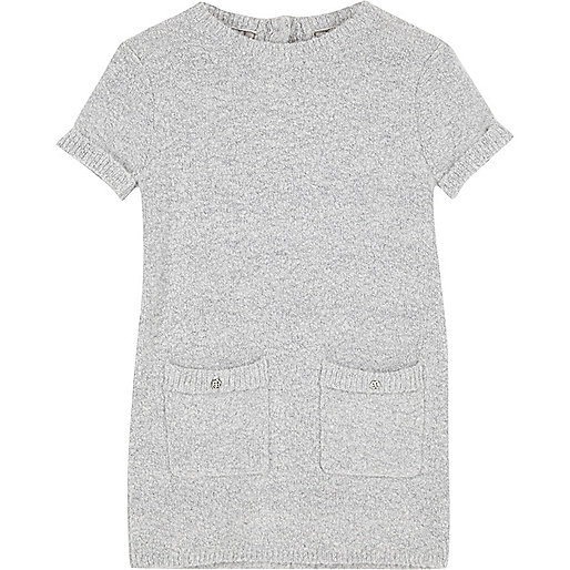 Mini girls grey fluffy knit shift dress
