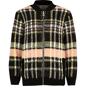 Girls pink checked knit bomber jacket