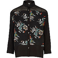 Girls black floral print shirt