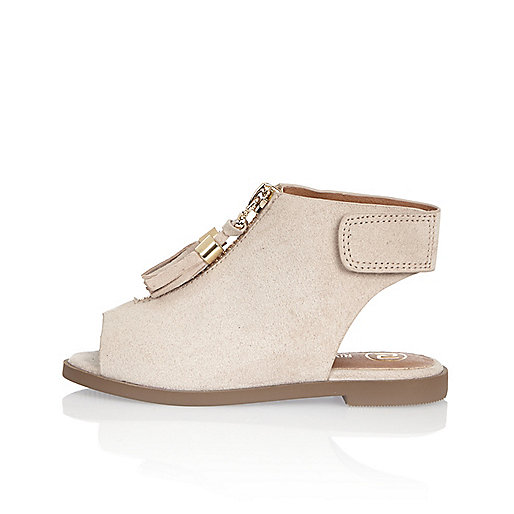 Mini girls cream zip sandals