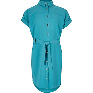 Girls turquoise belted shirt dress
